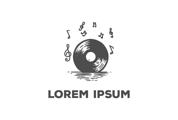 Lever du soleil au coucher du soleil avec le vecteur de conception de logo de musique de disque