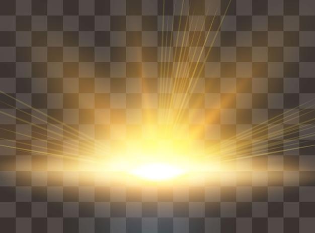 Lever du soleil, aube. lumière du soleil transparente. effet de lumière parasite spécial.