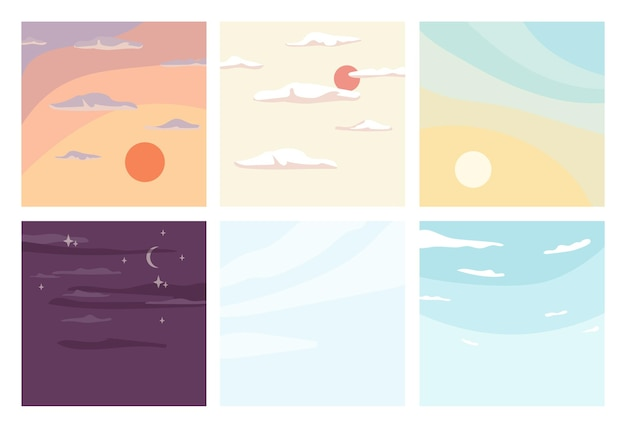 Le lever du soleil et le coucher du soleil du ciel de jour et de nuit définissent une vue d'été sans nuages de vecteur d'horizon ensoleillé