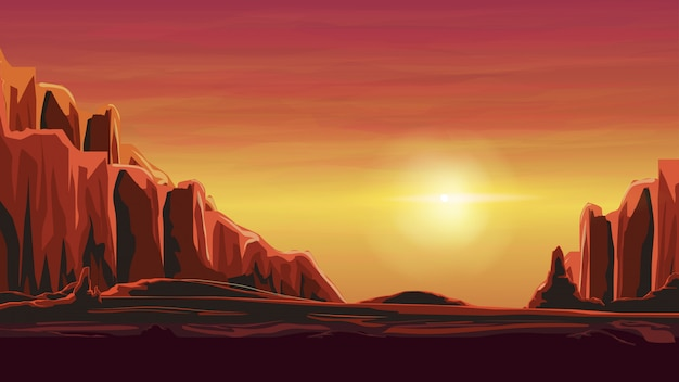 Lever du soleil dans un canyon sablonneux dans des tons orange chauds