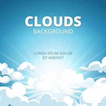 Lever du soleil dans un ciel bleu avec des nuages fond de vecteur