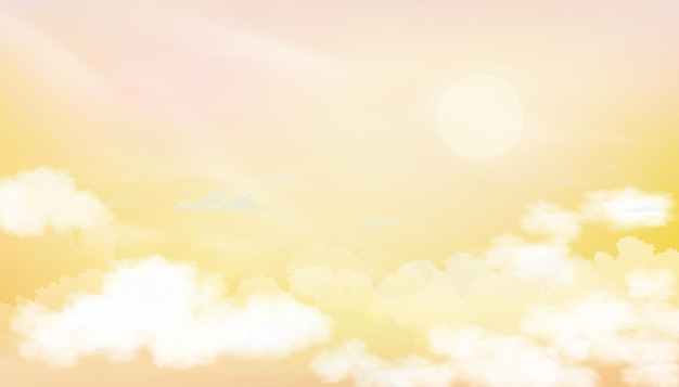 Lever du soleil dans le ciel du matin cloudscape crépusculaire dramatique avec coucher de soleil en soirée ciel pastel de vecteur