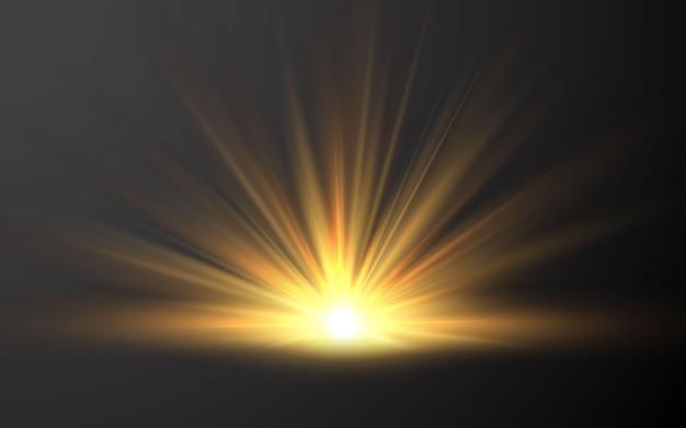 Lever du soleil. effet de lumière du flash pour objectif spécial de la lumière du soleil