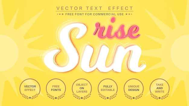 Lever du soleil - effet de texte modifiable, style de police.