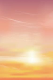 Lever du soleil le matin avec ciel jaune et rose