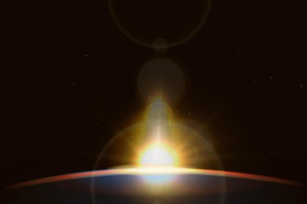 Lever de soleil sur la terre avec effet de lumière bokeh