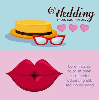 Lèvre féminine avec chapeau mâle et lunettes