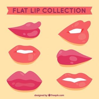 Lèvres brillant avec des gestes différents