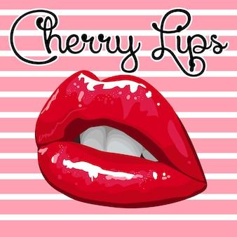 Lèvres cerises brillantes sur fond rayé rose