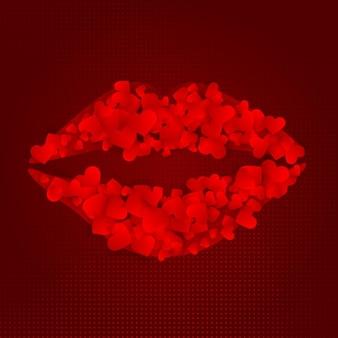 Lèvres faites avec des coeurs