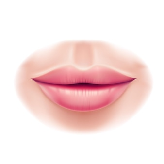Lèvres de femme de beauté réaliste après la chirurgie des lèvres