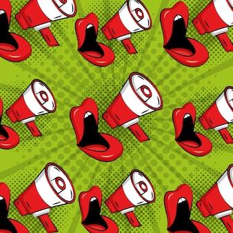 Lèvres de femme comique pop art mégaphone fond de style vintage