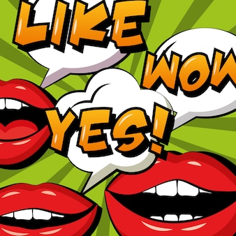 Lèvres de femme comique pop art oui comme et wow bulles