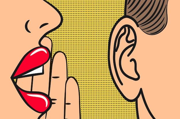 Lèvres de femme avec la main chuchotant dans l'oreille de l'homme avec bulle de dialogue