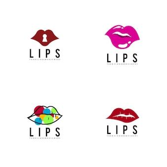 Lèvres logo défini vecteur