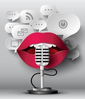 Les lèvres parlent au micro