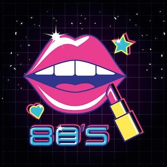 Lèvres pop art avec style rouge à lèvres