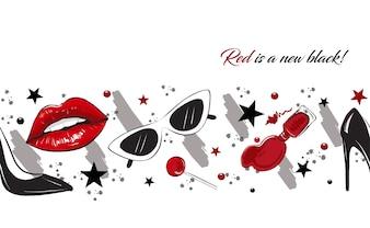 Lèvres rouges bordure de la mode