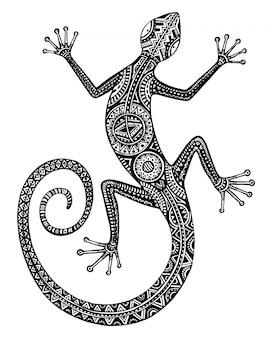 Lézard ou salamandre dessinés à la main avec des motifs tribaux ethniques