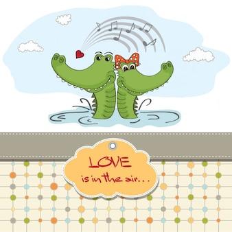 Lézards dans l'amour valentines day card