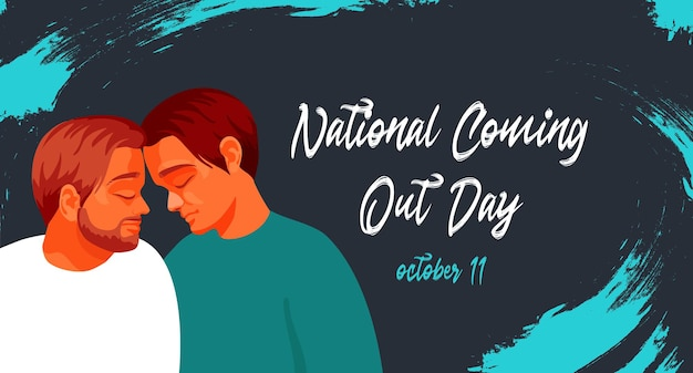 Lgbt couple gay friends bannières ou carte postale pour le vecteur plat national coming out day