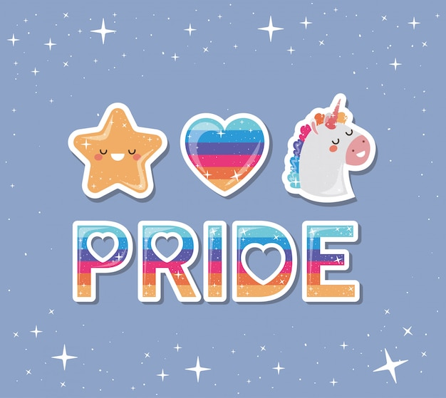 Lgtbi pride et kawaii licorne et étoile avec coeur