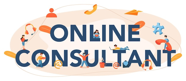 Libellé typographique du consultant en ligne. recherche et recommandation. idée de gestion de stratégie et de dépannage. aidez les clients à résoudre des problèmes commerciaux.