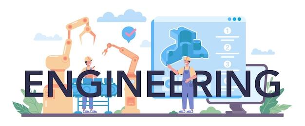 Libellé typographique d'ingénierie. technologie et science. profession professionnelle