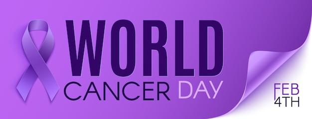 Libellé violet de la journée mondiale du cancer avec ruban violet.