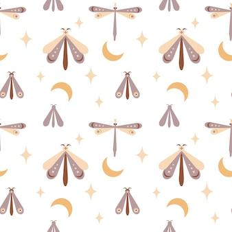Libellule papillon papillon boho modèle sans couture magique avec lune stareye isolé sur blanc
