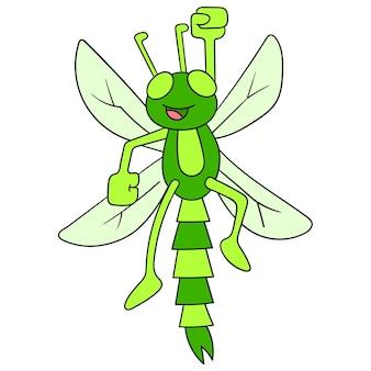 Une libellule verte volant avec un visage heureux, art d'illustration vectorielle. doodle icône image kawaii.