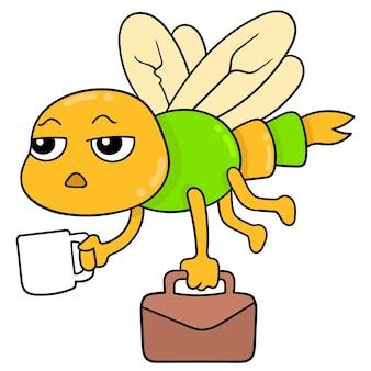 Libellule volante avec un visage endormi va travailler avec une mallette, art d'illustration vectorielle. doodle icône image kawaii.