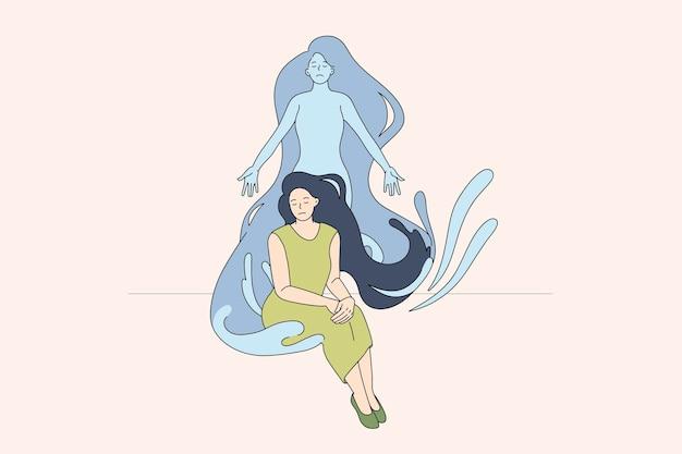 Libération spirituelle du corps féminin et thérapie par la méditation. illustration de concept de vecteur de la séparation de l'esprit et de l'équilibre de l'harmonie de l'âme.