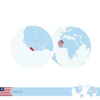 Libéria sur globe terrestre avec drapeau et carte régionale du libéria. illustration vectorielle.