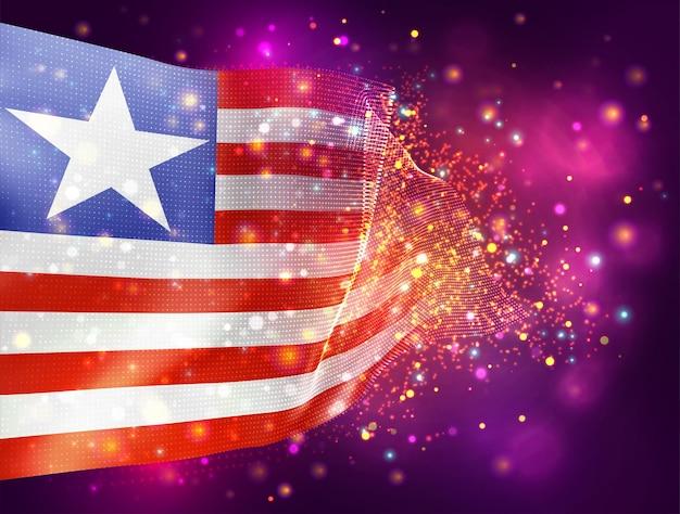 Libéria, vecteur drapeau 3d sur fond violet rose avec éclairage et fusées éclairantes