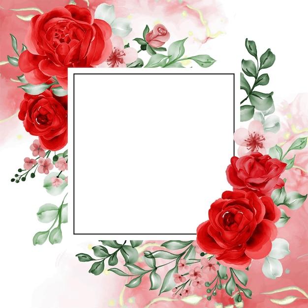 La liberté a augmenté de fond de cadre de fleur rouge avec un espace blanc
