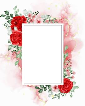 La liberté a augmenté le fond de cadre de fleur rouge avec un rectangle d'espace blanc