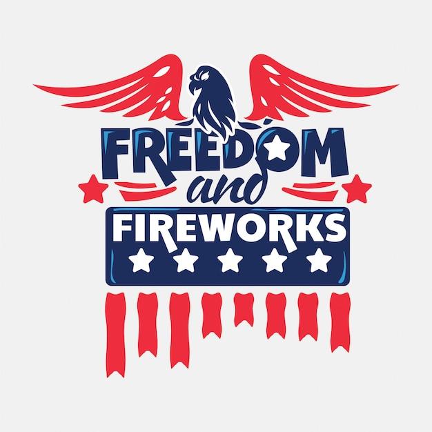 Liberté et feux d'artifice. le jour de l'indépendance