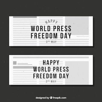 Liberté de la presse du monde bannières de journaux de jour