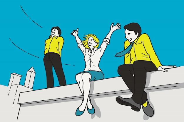 Liberté sur le toit d'un immeuble de bureaux
