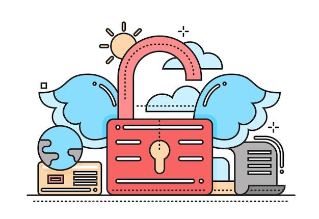 Liberté - vector illustration de conception de ligne plate moderne avec cadenas avec ailes déverrouillées