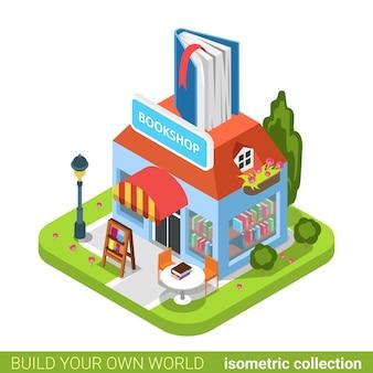 Librairie livre construction boutique immobilier concept immobilier.
