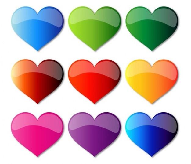 Libres coeurs de verre coloré