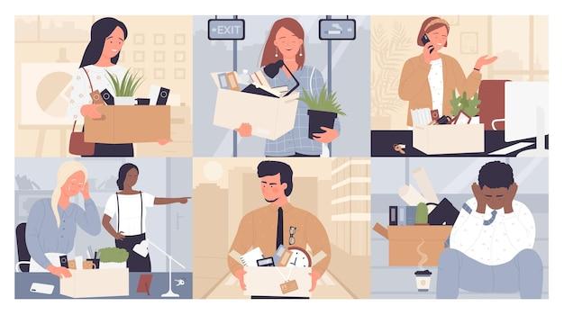 Licenciement de remplacement d'employé mis jeunes gens d'affaires tristes ou heureux quittent leurs fonctions