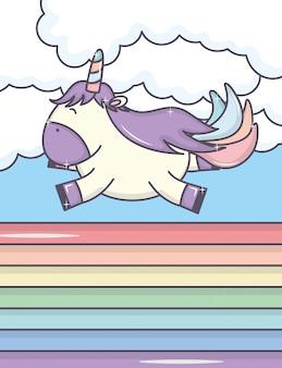 Licorne adorable et arc-en-ciel