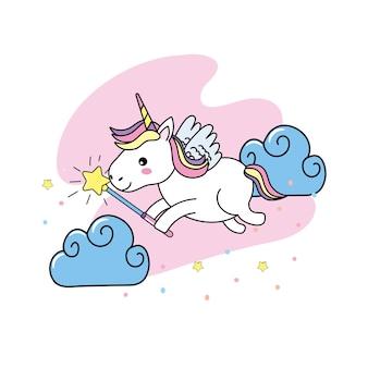 Licorne avec des ailes et une baguette magique
