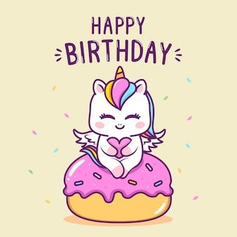 Licorne d'anniversaire mignonne dans le gâteau