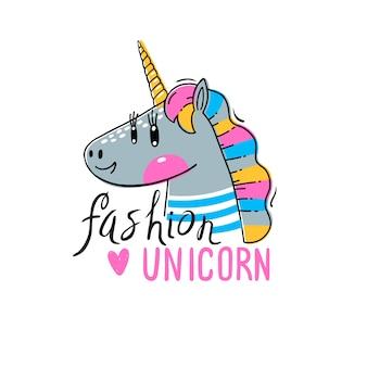 Licorne arc-en-ciel dans des vêtements à la mode. animal de mode kawaii.