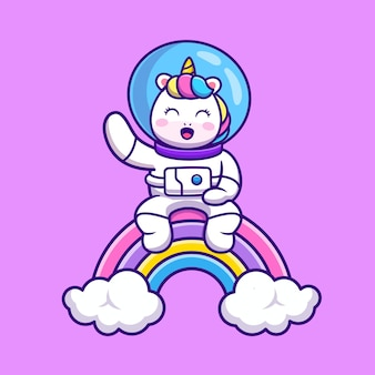 Licorne astronaute mignon assis sur dessin animé arc-en-ciel