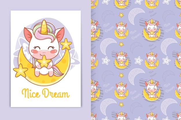 Licorne de bébé mignon étreignant la petite illustration de dessin animé d'étoile et l'ensemble de modèle sans couture